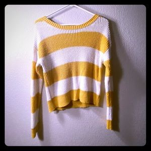 YELLOW AND WHITE STRIPED AMERICAN EAGLE SWEATER
